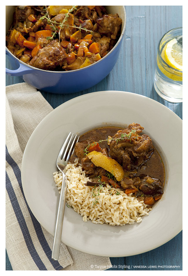 Slow cooked beef oxtail in milk stout with orange zest