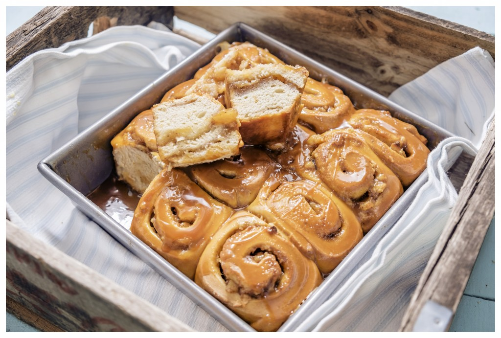 PEAR & CINNAMON BUNS WITH SALTED CARAMEL SAUCE