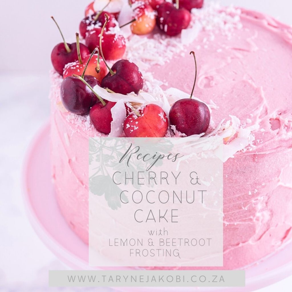 Cherry Coconut Cake with Lemon & beetroot Frosting