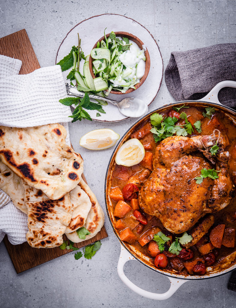 Indian inspired one dish Chicken with naan bread and raita