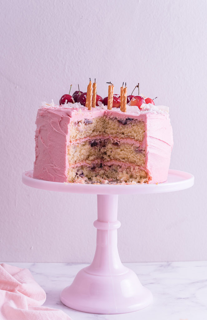 Cherry Coconut Cake with cream cheese frosting